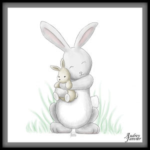illustration paques lapin calin