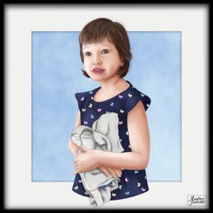 Portrait réaliste d'une enfant Audrey Janvier