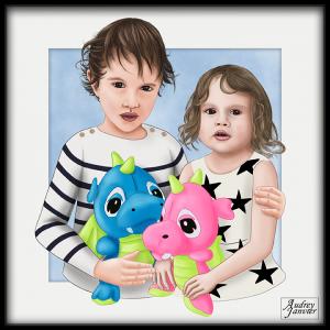 Portrait réaliste d'un frère et sa soeur