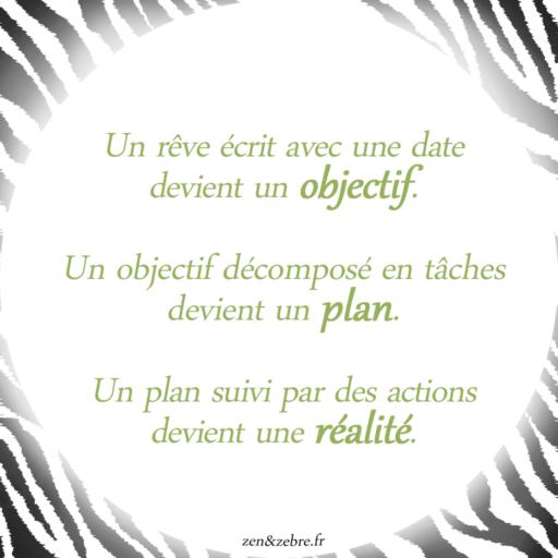 Citation : un rêve, une date, un objectif, un plan, une réalité, des actions-zen-zèbre