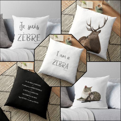 coussins -Collection Zen et Zèbre et bonne nuit mon petit - disponible sur la boutique Redbubble