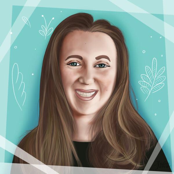 Portait illustré pour avatar, réalisé par Audrey Janvier