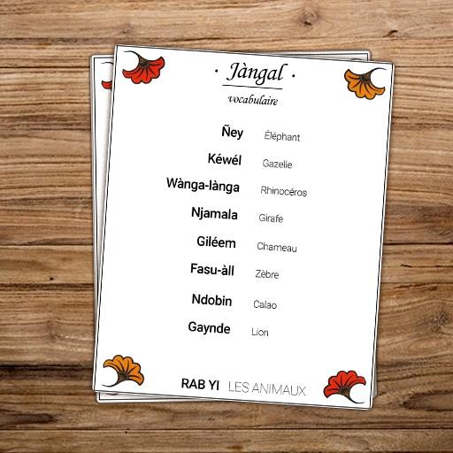 Vocabulaire des animaux de la savane en wolof - collection Jàngal