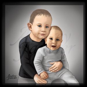 Portrait réaliste enfant bebe frere Audrey Janvier