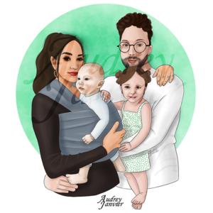 illustration Portrait Famille portage