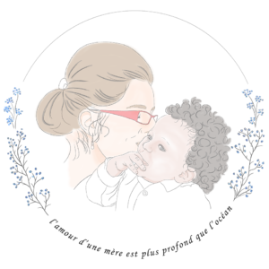 illustration Portrait  maman enfant bebe