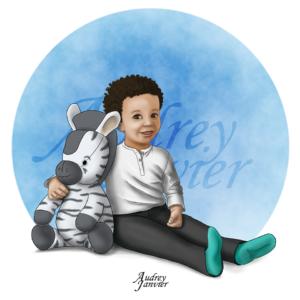 Enfant Doudou illustration Portrait