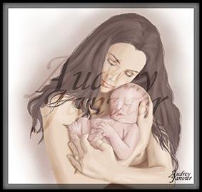 Portrait réaliste maman allaitement maternage maternel Audrey Janvier