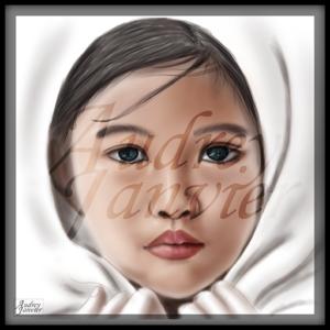 Portrait Fille réaliste yeux