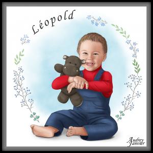 Portrait illustré Enfant et doudou