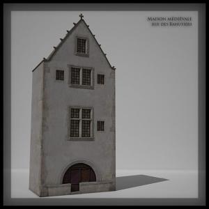 Maison Médiévale Bahutiers Bordeaux restitution Image de Synthèse 3D infographie Audrey Janvier